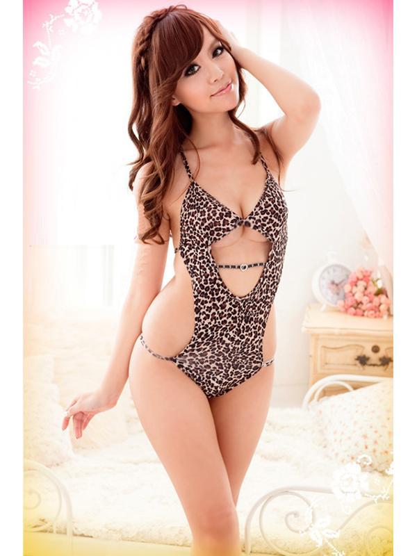 Sexy Women Leopard Halter Lingerie Seductive Jumpsuit