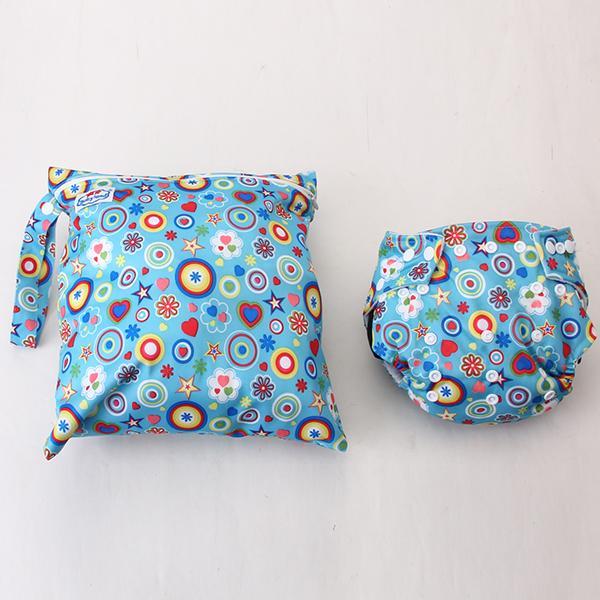 Baby Cartoon Pattern Diaper Accessory Cloth Diaper Cloth Diaper Bag 2pcs Blue