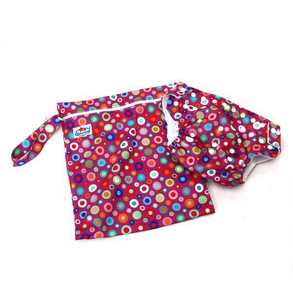 Baby Circles Pattern Diaper Accessory Cloth Diaper Cloth Diaper Bag 2pcs Red