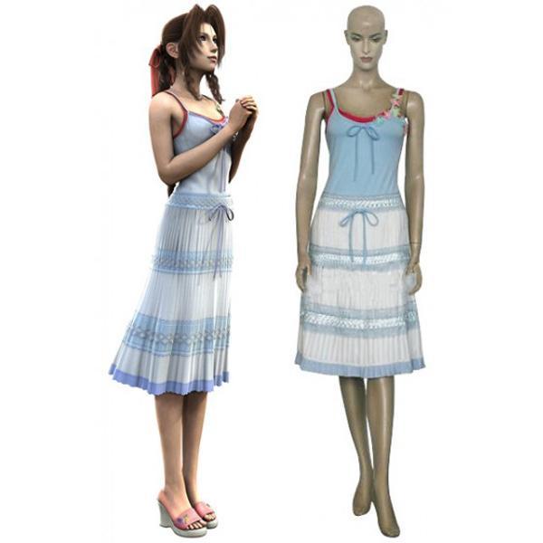 Final Fantasy VII Yuffie Kisaragi Cosplay Costume Light Blue + White + Red XL