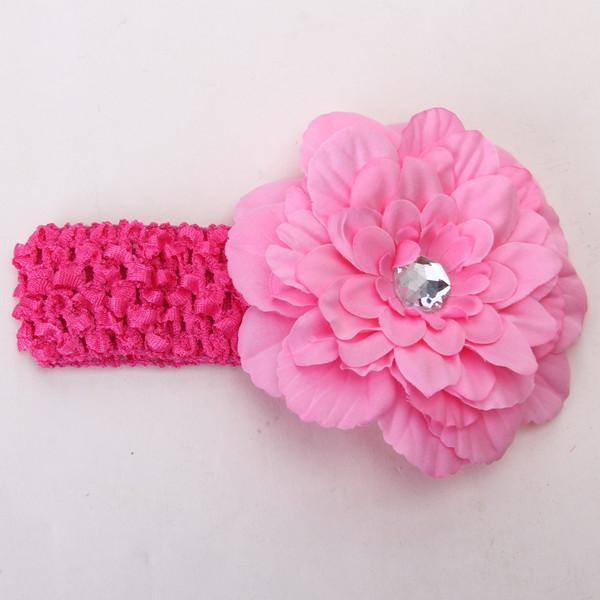 Elastic Baby Crochet Headband Rhinestone Peony Flower Hair Clip Headwear 2pcs