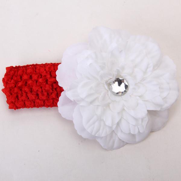 2pcs Elastic Baby Girls Crochet Headband Rhinestone Hair Clip Headwear