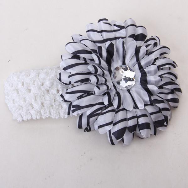 2pcs Elastic Baby Headband Rhinestone Daisy Flower Hairclip Headwear White + Zebra