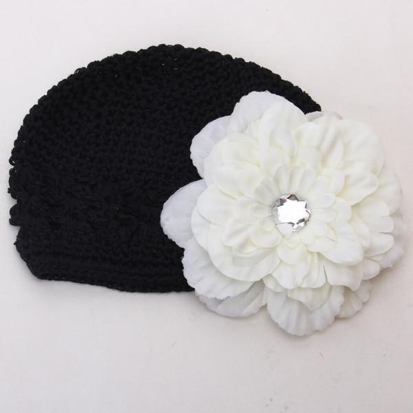 2pcs Crochet Handmade Beanie Cap Hat Rhinestone Peony Flower Hairclip Headwear Black + Creamy