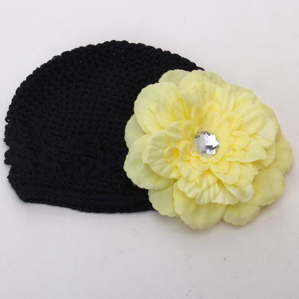 2pcs Crochet Handmade Beanie Cap Hat Rhinestone Peony Flower Hairclip Headwear Black + Yellow