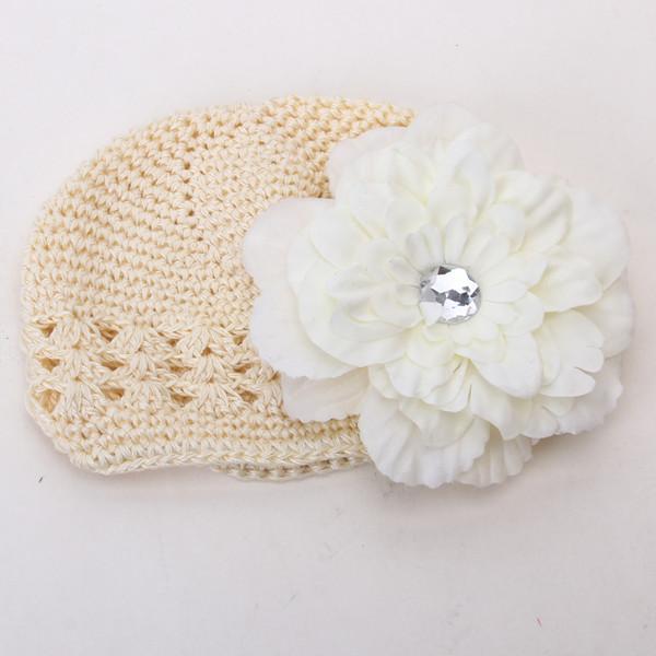 2pcs Crochet Handmade Beanie Cap Hat Rhinestone Peony Flower Hairclip Headwear Beige + Creamy