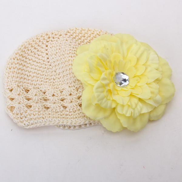2pcs Crochet Handmade Beanie Cap Hat Rhinestone Peony Flower Hairclip Headwear Beige + Yellow