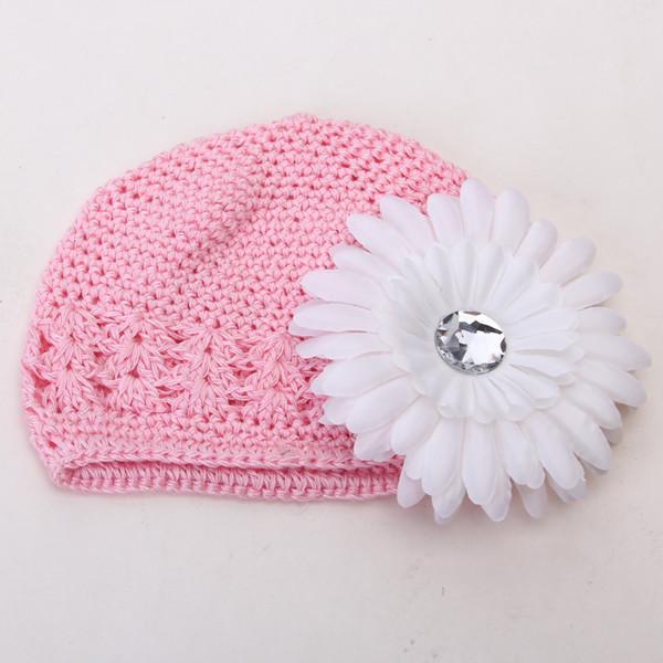 2pcs Crochet Handmade Beanie Cap Hat Rhinestone Daisy Flower Hairclip Headwear Pink + White