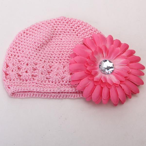 2pcs Crochet Handmade Beanie Cap Hat Rhinestone Daisy Flower Hairclip Headwear Pink