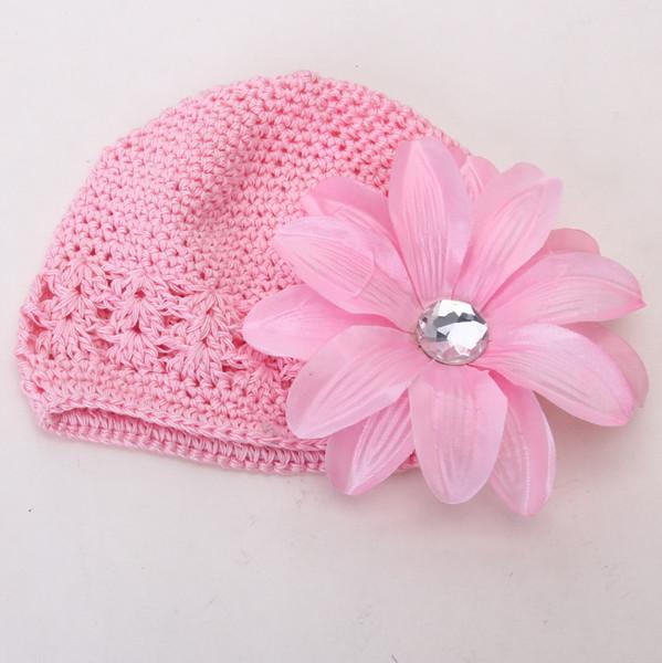 2pcs Crochet Handmade Beanie Cap Hat Rhinestone Lily Flower Hairclip Headwear