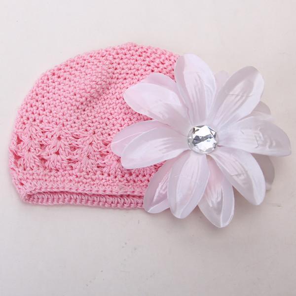 2pcs Crochet Handmade Beanie Cap Hat Rhinestone Lily Flower Hairclip Headwear Pink + White