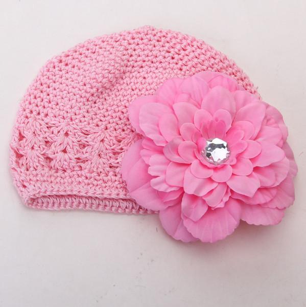 2pcs Crochet Handmade Beanie Cap Hat Rhinestone Peony Flower Hairclip Headwear Pink