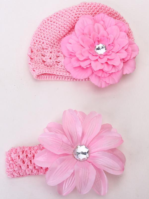 4pcs Crochet Handmade Beanie Hairclip Headband Headwear