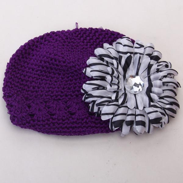 2pcs Crochet Handmade Beanie Cap Hat Rhinestone Daisy Flower Headwear Purple + Zebra
