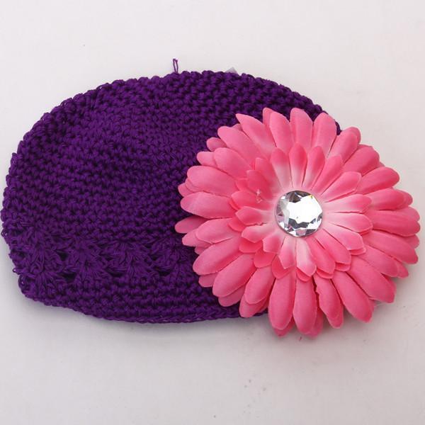 2pcs Crochet Handmade Beanie Cap Hat Rhinestone Daisy Flower Headwear Purple + Pink