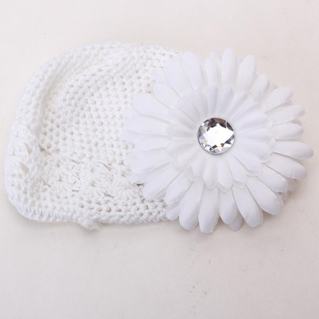 2pcs Crochet Handmade Beanie Cap Hat Rhinestone Daisy Flower Hairclip Headwear White