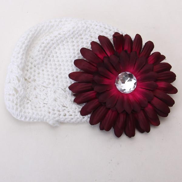 2pcs Crochet Handmade Beanie Cap Hat Rhinestone Daisy Flower Hairclip Headwear White + Claret