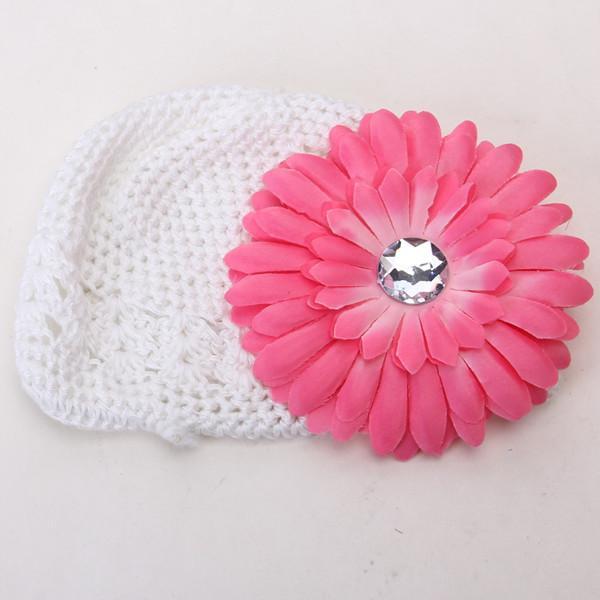 2pcs Crochet Handmade Beanie Cap Hat Rhinestone Daisy Flower Hairclip Headwear White + Pink