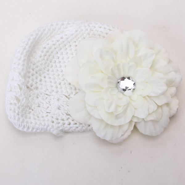 2pcs Crochet Handmade Beanie Cap Hat Rhinestone Peony Flower Hairclip Headwear White + Creamy