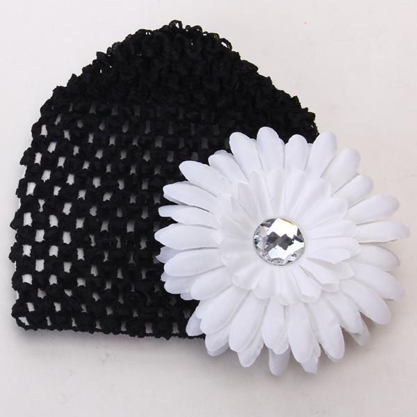 2pcs Baby Infant Girl Versatile Crochet Beanie Hat Cap Rhinestone Daisy Flower Hairclip Headwear Black + White