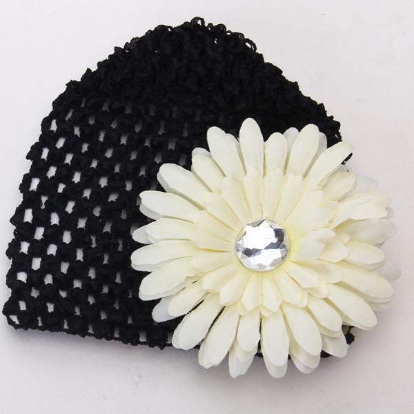 2pcs Baby Infant Girl Versatile Crochet Beanie Hat Cap Rhinestone Daisy Flower Hairclip Headwear Black + Pale Yellow