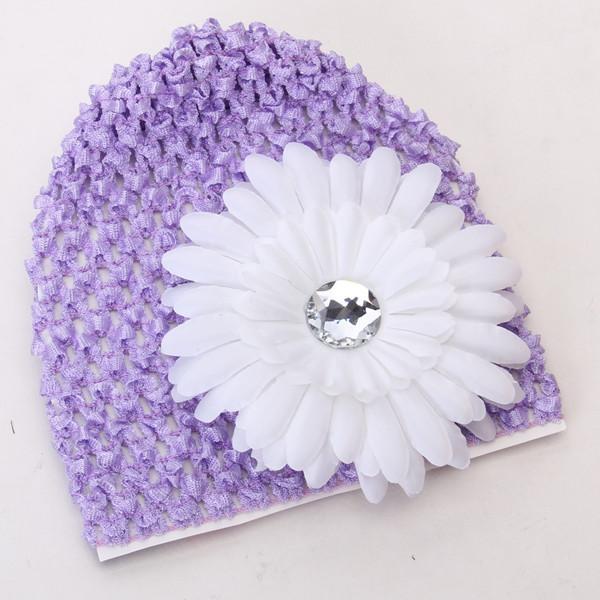 2pcs Baby Infant Girl Versatile Crochet Beanie Hat Cap Rhinestone Daisy Flower Hairclip Headwear Light Purple + White