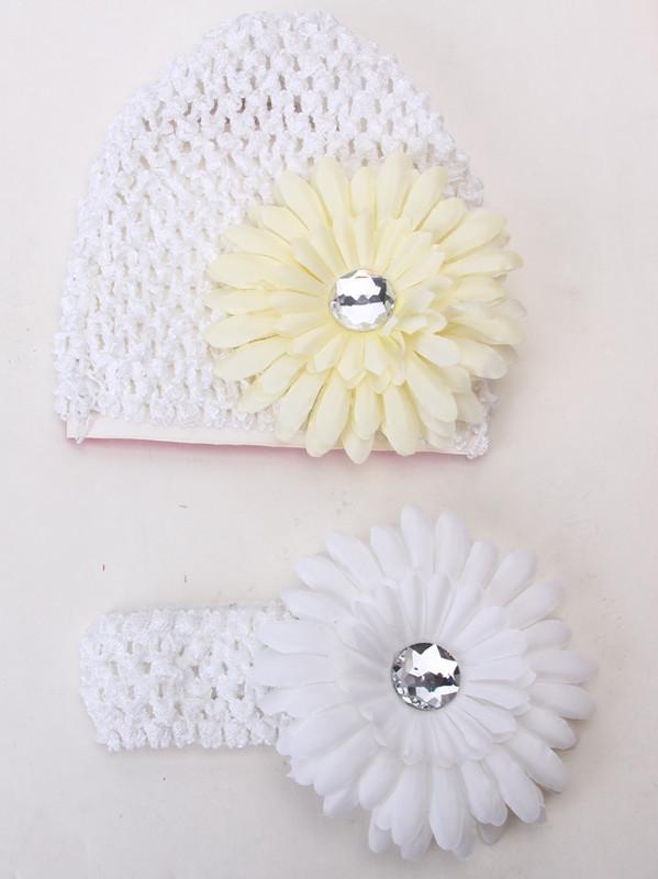 4pcs Beanie Rhinestone Daisy Flower Hairclip Elastic Crochet Headband Headwear