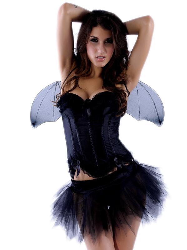Slim Bowknots Faerie Uniform Costume Halloween Costume Black 8569 S