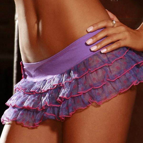 Dot Bows Mini Skirt Purple 7043 M