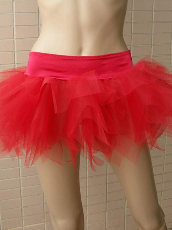 Hot Mini Layered Skirt Short Dance Costume Tiered Skirt 7036 Red S