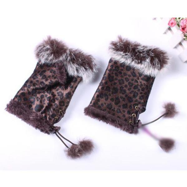 Suede Nap Rabbit Fur Hand Wrist Warmer Half Finger Gloves 10