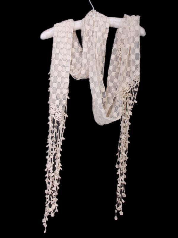 Women Crochet Flower Gauze Tassels Lace Scarf 3363 Beige
