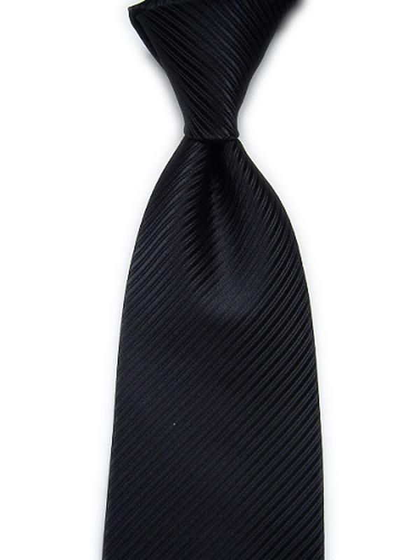 Black Twill Stripe Jacquard Necktie 1#