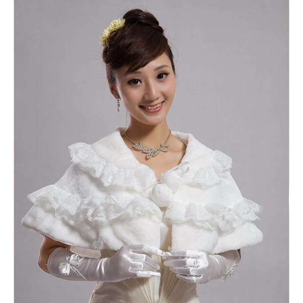 Elegant Women Faux Fur Cloak Shape Bridal Wedding Shawl Evening Party Wraps Ivory