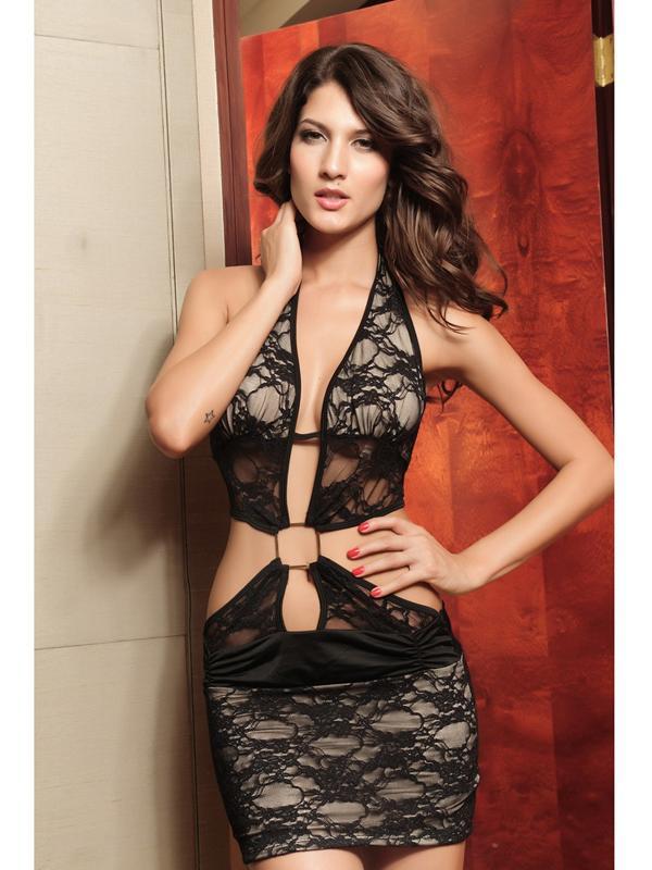 Sexy Women Lace Backless Halter Dress 2542 Black