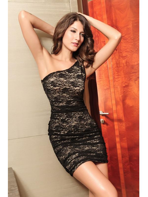 Sexy Women One Shoulder Lace Slim Hip-hugger Dress Black + Beige 2498