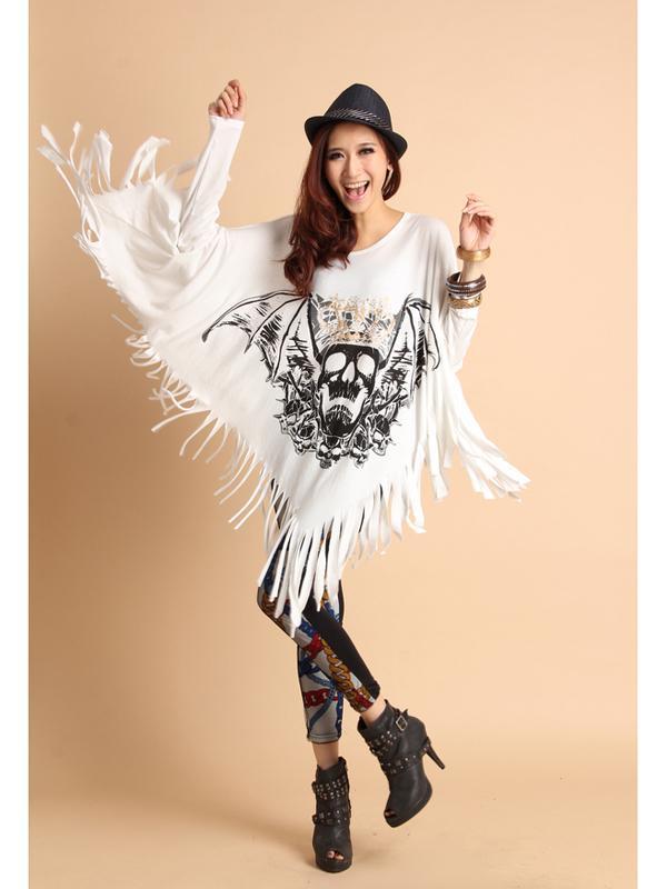Women Long Sleeves Skull Printing Tassels Top Pullover White 25072