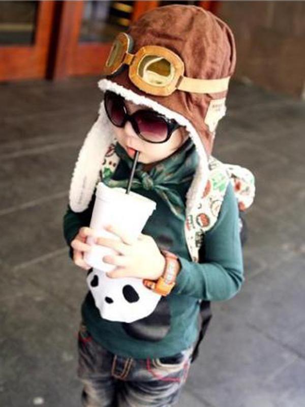 Baby Aviator Cap Warm Hats Earflap Beanie Coffee