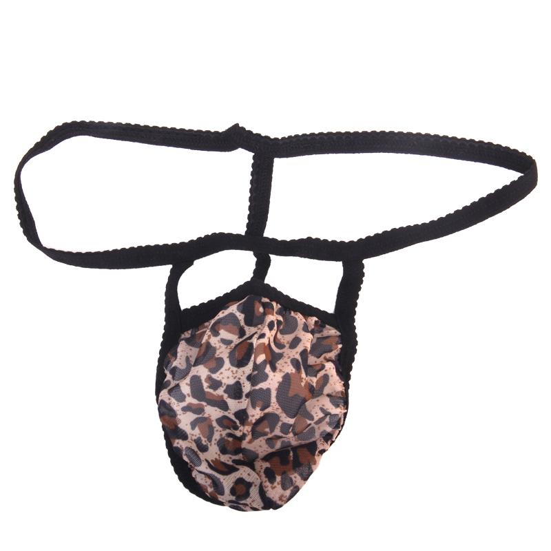 Sexy Men G-string Mesh Pouch Thong Posing Strap Underwear Black + Leopard