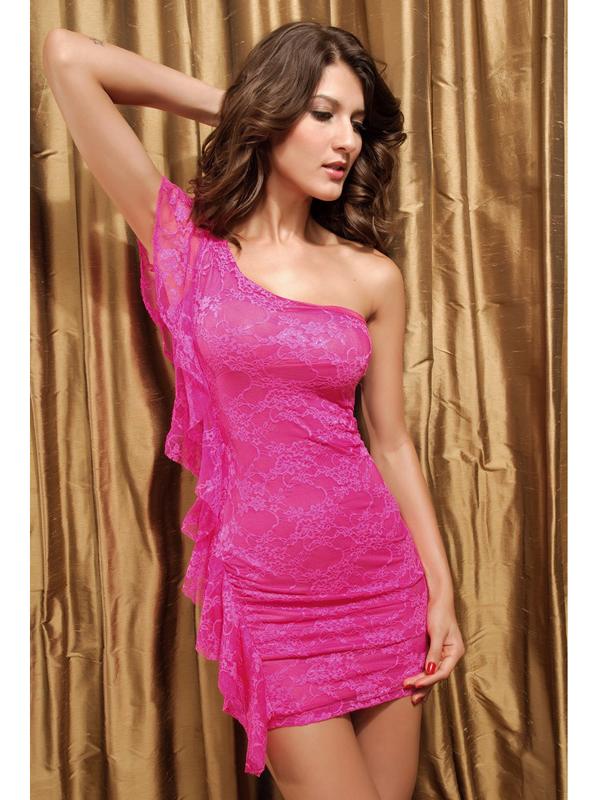 Sexy Lace One Shoulder Falbala Dress 2592-3 Pink US2-16 / EU32-46
