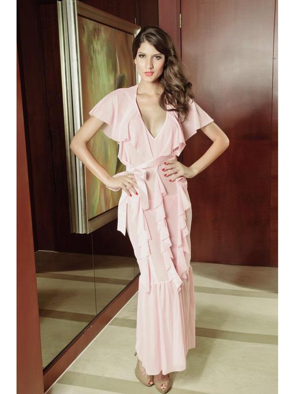 Women Sexy Deep V Neck Sheer Gown Long Falbala Party Dress 6121 US2-14 / EU32-44