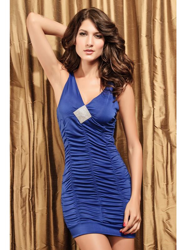 Sexy Women Slim V Neck Rhinestone Hip-hugger Ruffle Dress 2549-3 Blue US2-14 / EU32-44