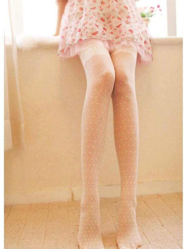 Sexy Beige Lace Jacquard Weave Semitransparent Pantyhose