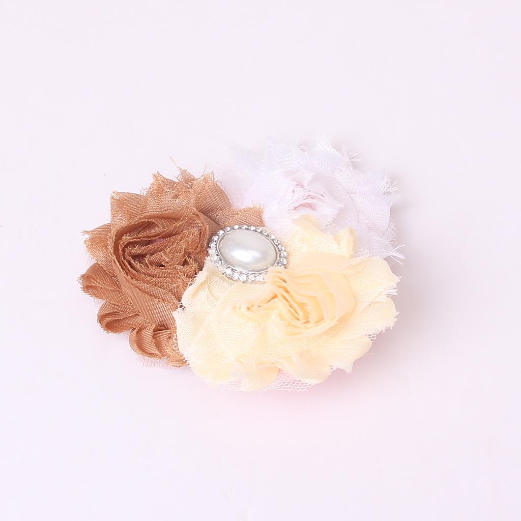 Baby Soft Headband w/ Chiffon Flower White Beige Khaki YXH-03