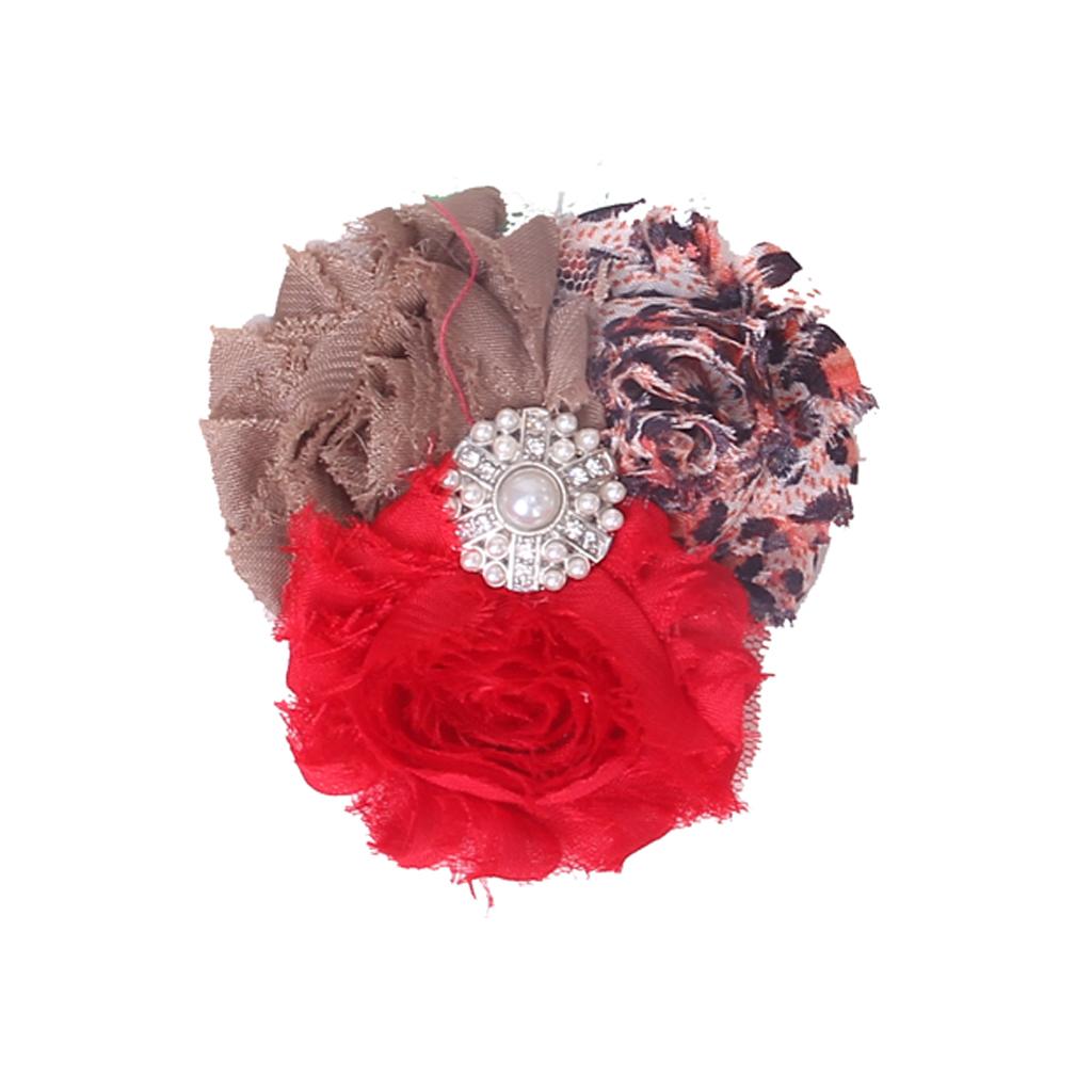 Baby Soft Headband w/ Chiffon Flower Red Khaki Leopard YXH-12