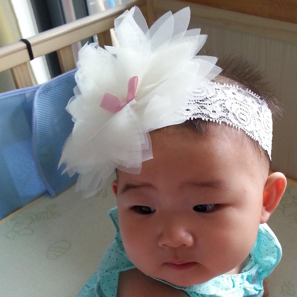 Baby Chiffon Flower Lace Headband Soft Headwear Beige