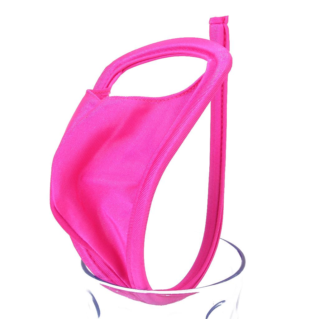 Men's Sexy Opening C-String Strapless Lingerie Underwear Thong -Fuchsia