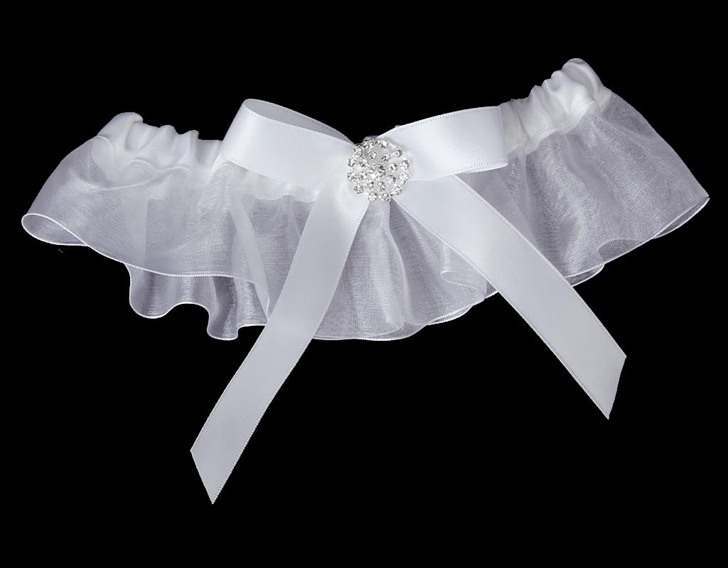 Prom Sexy Bridal Rhinestone With Bow Wedding Garter Satin Toss -White