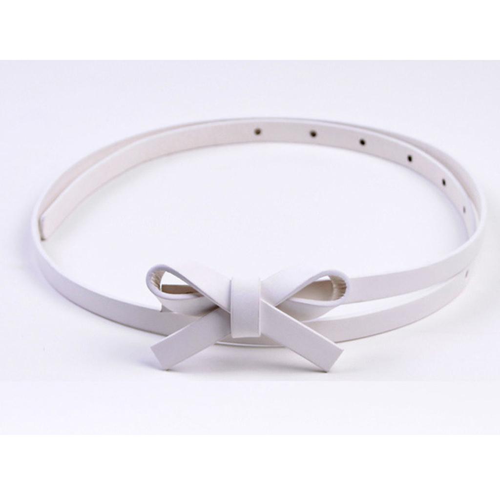 Trendy New Girls Ladies Skinny Narrow Bowknot Belt Dress Belt -White