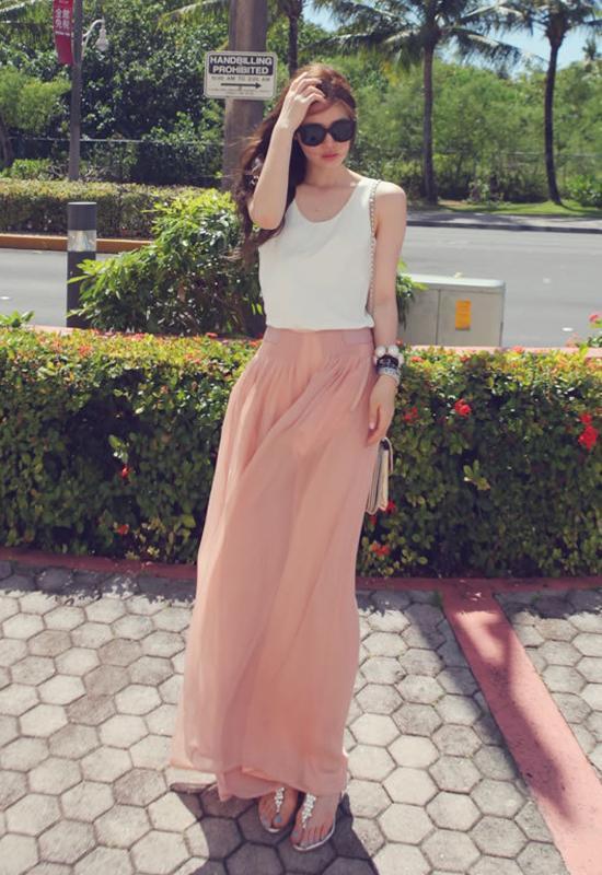 Women's Chiffon Blouse Sheer Tops Casual Sleeveless Loose T-Shirt White
